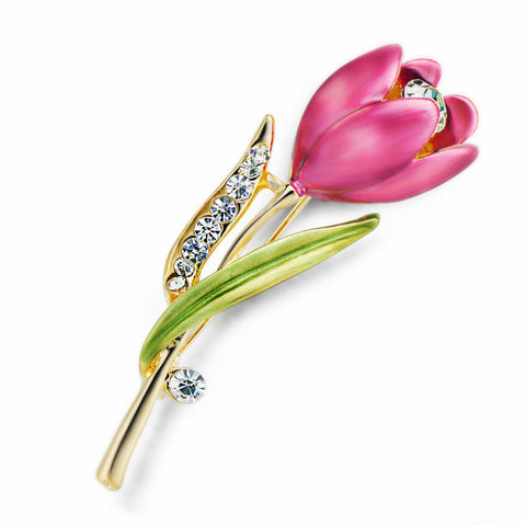 Elegant Crystal Tulip Brooch Pin