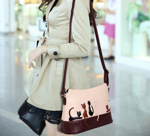 Women Cat Rabbit Cross Body Leather Handbag