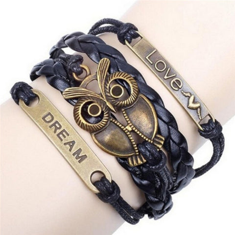 Multi-Layer Leather Bronze Owl Bracelet