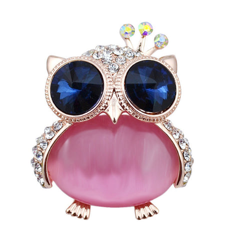 Cute Owl Opal Pin Brooch