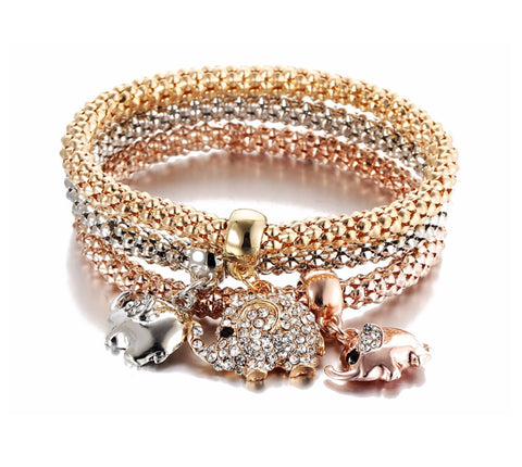 Gold Color Crystal Women Elephant Bracelet