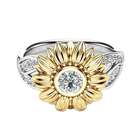 Crystal Sunflower Ring - Free + Shipping