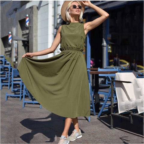 Women's Loose Comfortable Sleeveless Long Dresses