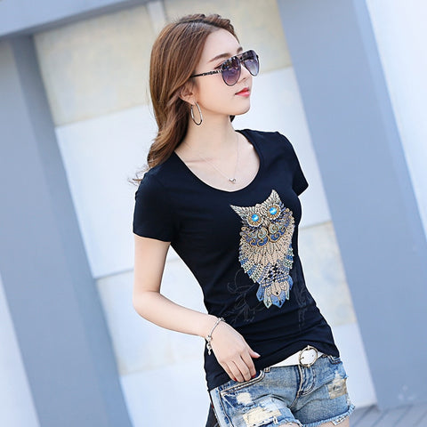 Owl  Fashion Vintage Summer T-Shirt