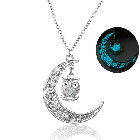 Owl Silver Plated Moon Glow Pendant Necklace