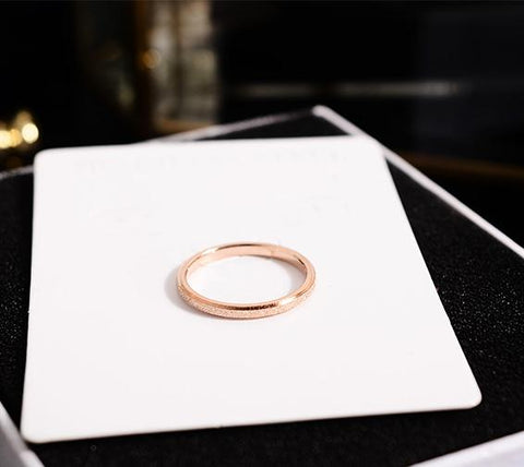 Rose Gold Color Frosted Finger Ring for Woman Man