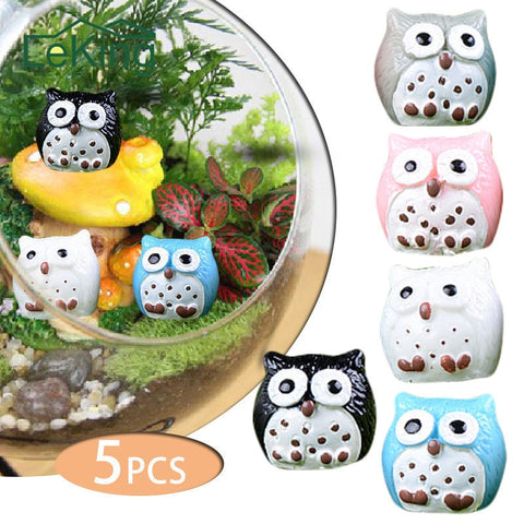 5pcs Artificial Owl Miniature Fairy Garden
