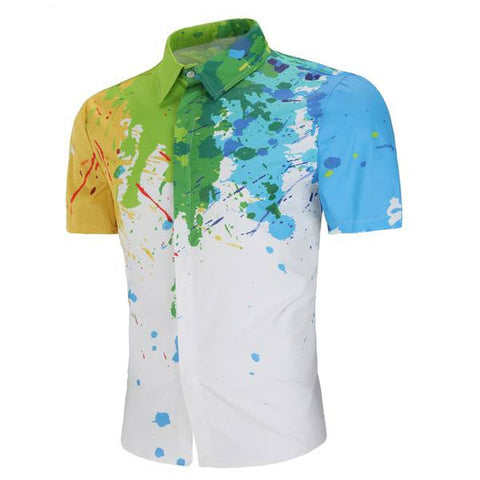 Men Fashion Splash Print Shirt