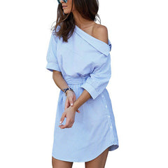 Blue Striped One Side Off-Shoulder Dress