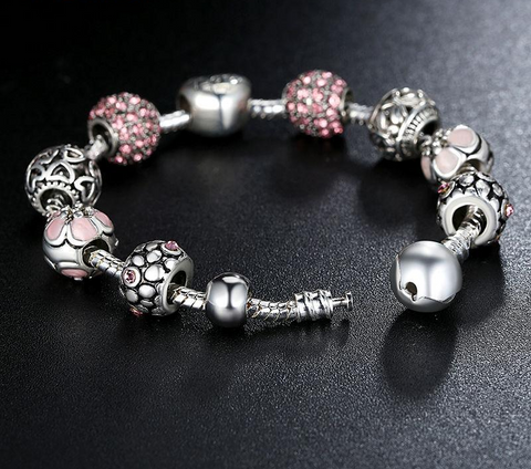 FREE Love Flower Crystal Charm Bracelet & Bangle