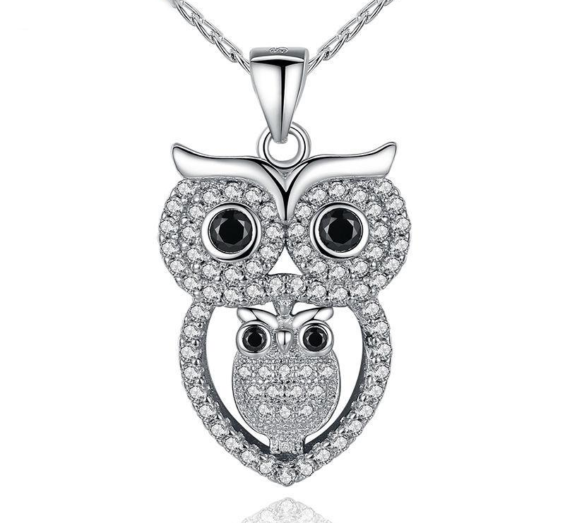 Love Owl Mother And Child Pendant Necklace