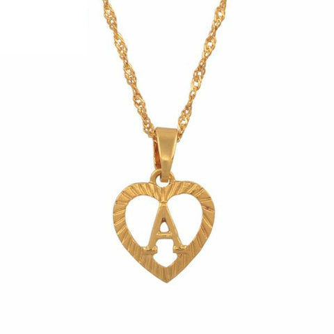 A-Z Letters Necklaces Gold Color Charm Alphabet Pendant