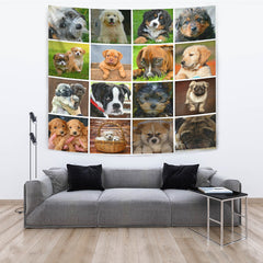 Cute Dog Pups Collage Tapestry