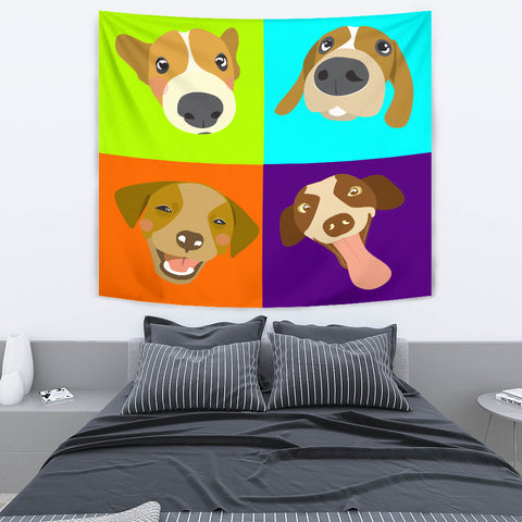 Multicolor Dog Collage Tapestry