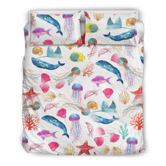 Watercolor Ocean Bedding Set with Whales and Fish