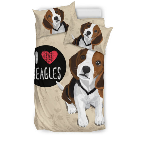 I Love Beagles Bedding Set for Lovers of Beagle Dogs
