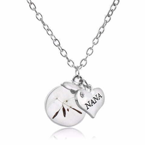 Crystal Heart NANA Grandma Pendant Necklace