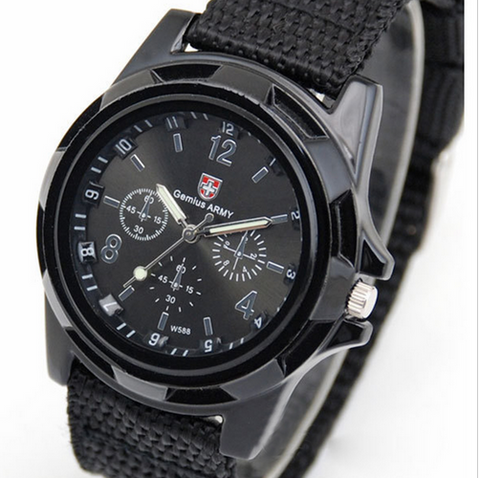 Men Watch Army Soldier Military Canvas