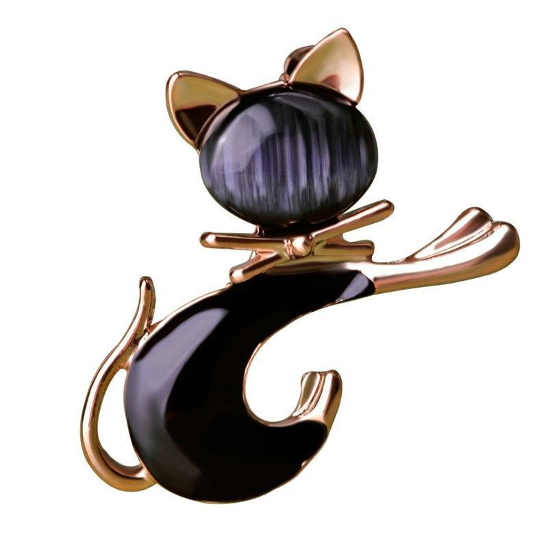 Cute Cat Gold Tie Brooches