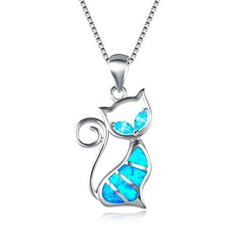 FREE Blue Fire Opal Cat Necklace