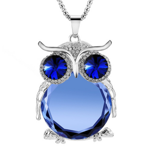 Owl Crystal Pendants Silver Necklace - Free Plus Shipping Promotion