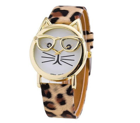 Designer Cat Watch with Glasses - Free + Shipping