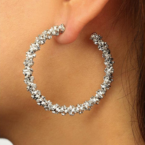 Crystal Sliver Gold Hoop Earrings