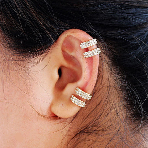 Gold and Silver Plated 2 Rows Rhinestone Clip Earrings Without Piercing