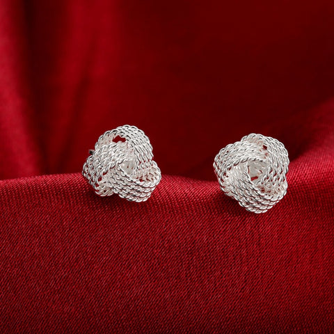 Women Silver Plated Web Ball Earrings