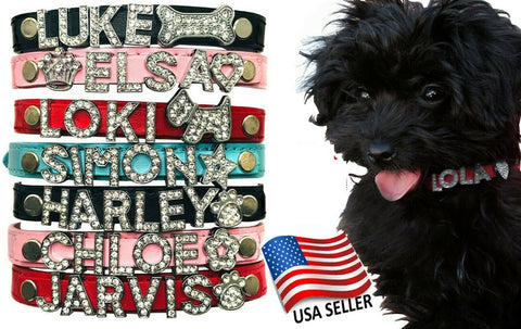 Leather Dog Cat Pet Personalized Collar - XS, S, M, L Rhinestone Names