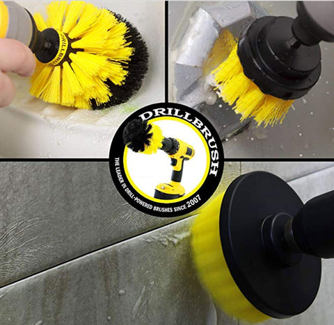 Drillbrush Car, Bathroom Surfaces, Tile and Grout, All Purpose Power Scrubber Cleaning Kit