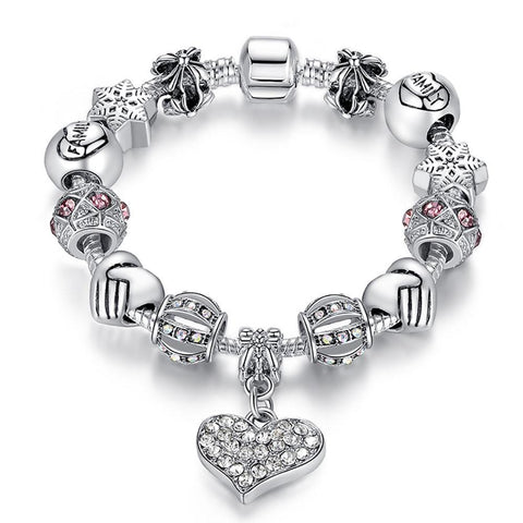 Women 925 Unique Silver Crystal Charm Bracelet