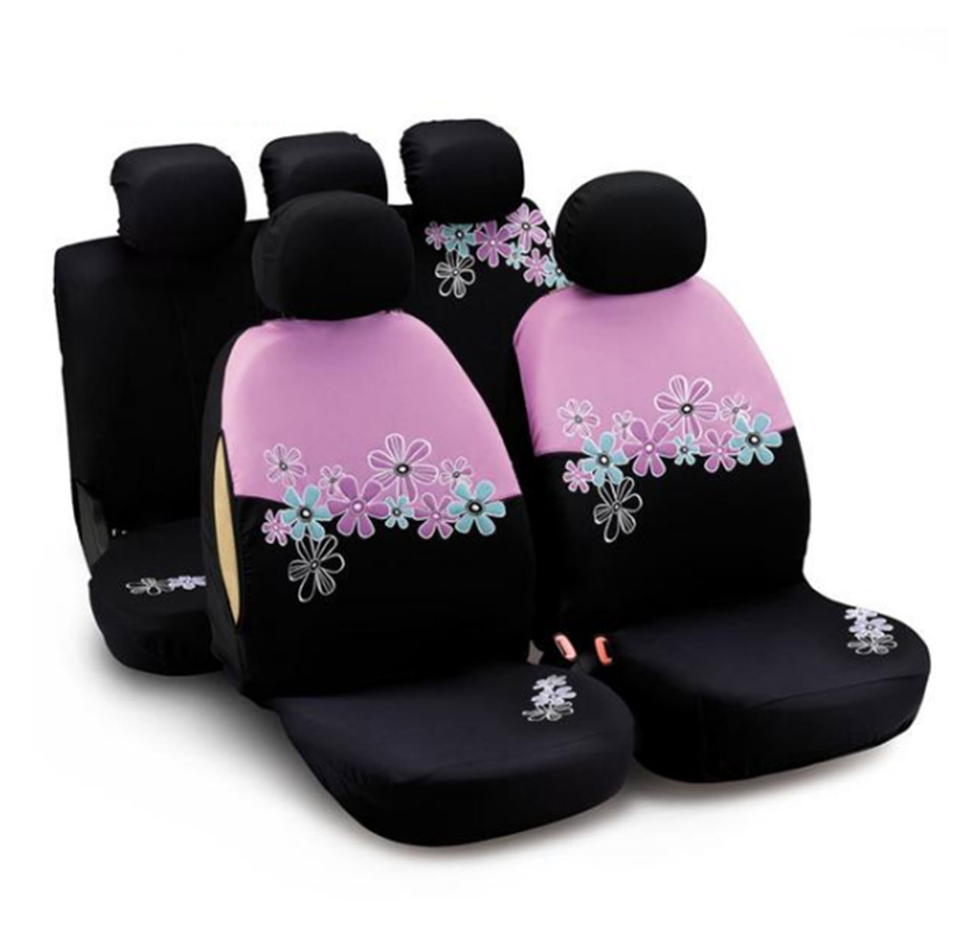 Pink flowers car seat covers set trends mart club pink flowers car seat covers set mightylinksfo