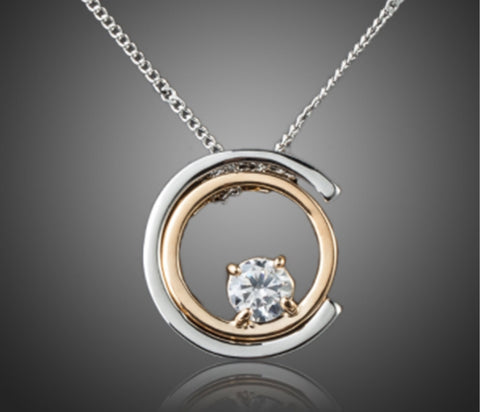 Free Classic White Gold Crystal Pendant Necklace