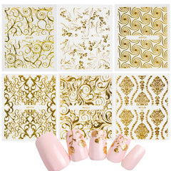 20pcs Gold Glitter Flower 3D Nail Art Sticker