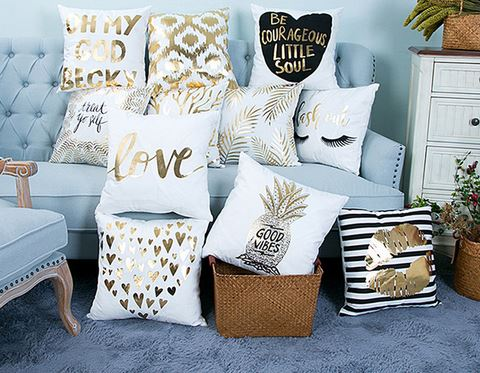 Gold Printed Soft Decorative Pillow Covers