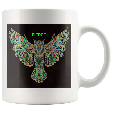 FIERCE Owl Mug - Green and White