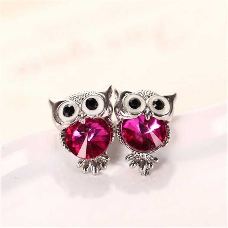 Glossy Crystal Owl Stud Earrings