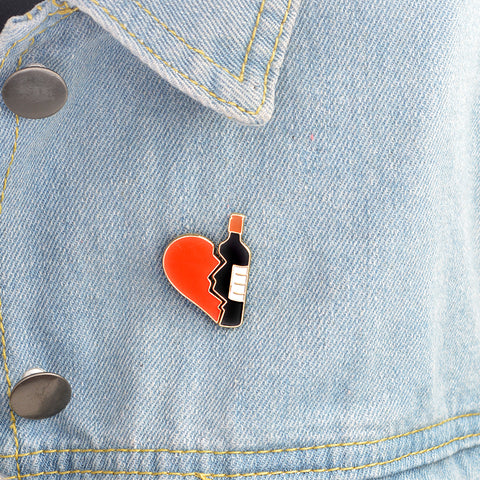 Wine Bottle And Heart Brooch Enamel Pins Set
