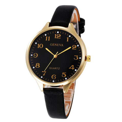 FREE Women's Big Dial Leather Quartz Watches