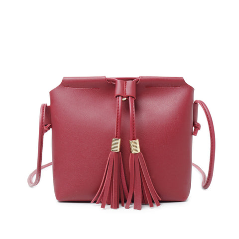 Women Leather Tassel Messenger Handbag