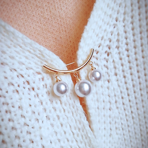 Women Simple Pearl Pin Brooch