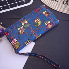 Ladies Owl Print Leather Clutch Wallet