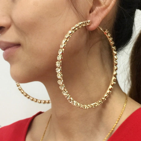 Luxury Big Crystal Hoop Earrings
