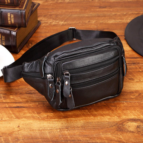 Men Genuine Leather Fanny Pack