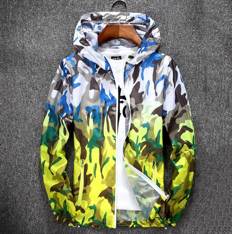 New Foldable Camouflage Long Sleeve Hooded Waterproof Summer Jacket