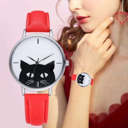 New Cat Fashion Leather Quartz Watches