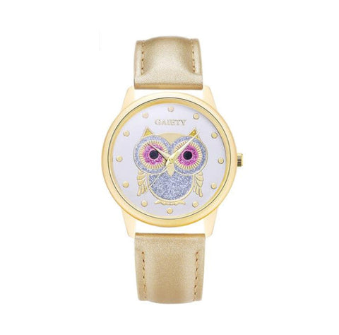 Free Women Gold Luxury Owl Watch