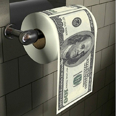 Novelty Funny One Hundred Dollar Bill Soft Roll Toilet Paper
