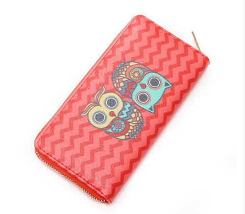 Women Owl Leather Long Clutch Wallet